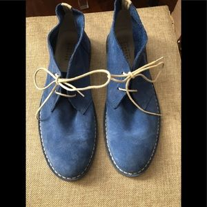Royal blue suede booties